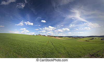 Landscape panorama (16:9) in Bavaria, Germany