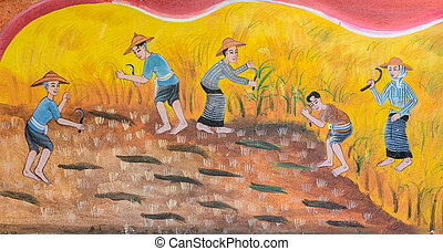 Thai mural painting art - Thai mural painting of traditional...