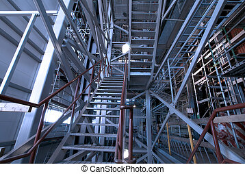 ladders and support structures at factory