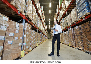 manager in warehouse - male manager man standing in big...