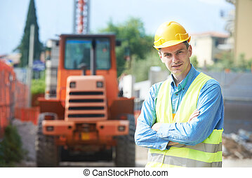 builder engineer at construction site