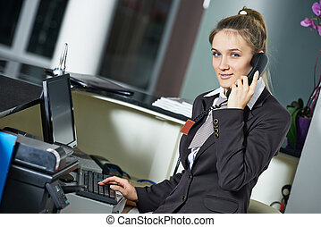 Hotel manager on reception - female manager worker assistant...
