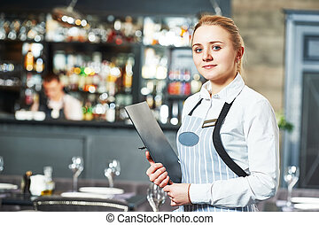 waitres with menu - Waitress with menu at the indoor...