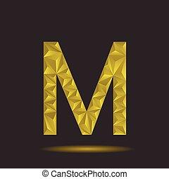 Letter M - Golden polygonal alphabet, Letter M Vector...