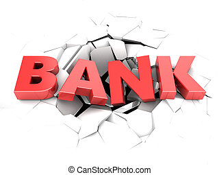 bank failure - 3d illustration of text bank in hole over...
