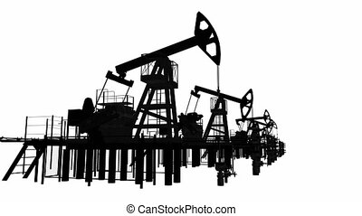 Silhouettes oil pump-jacks Isolated render on white...