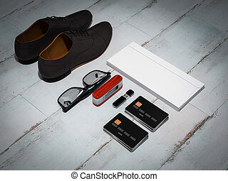 Every day carry man items collection: glasses, cap, knife...