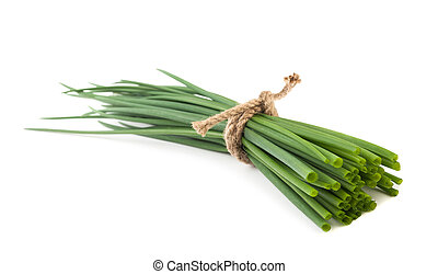 Chives bunch - small bunch of Chives isolated on white...