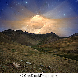 Fantastic sunrise over mountain valley star sky nebulae