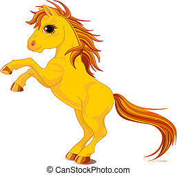 Yellow horse - An a vector illustration of rearing up horse