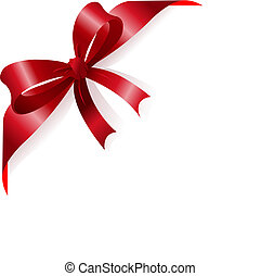 Red ribbon - Page corner with red ribbon and bow Place for...