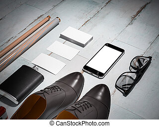 Every day carry man items collection: glasses, knife, shoes...
