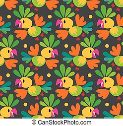 Seamless pattern with funny parrot - Seamless pattern or...