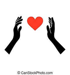 Heart in Hands Silhouette on White Background. Vector