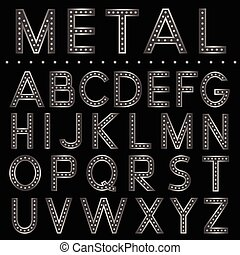 Metal ball letters on the black background Vector silver...