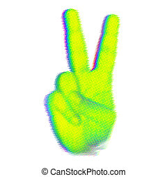 victory sign finger - halftone concept with victory sign...