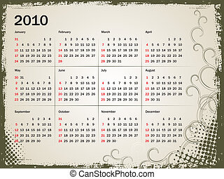 calendar for 2010 - grunge floral background with calendar...
