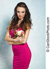 Amazing, spring women - Pretty, natural, cheerful model with...