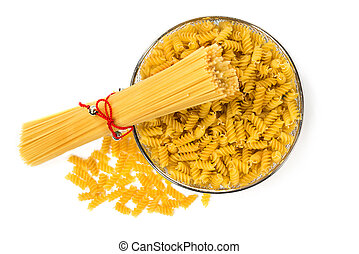Pasta and macaroni on white isolated background