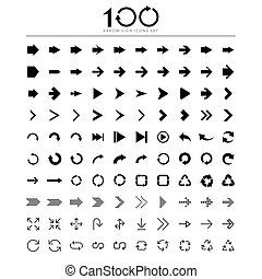 100 Basic arrow sign icons setIllustrator eps10