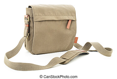 Khaki bag - Khaki textile sport-style travel bag on white