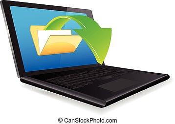 computador portatil, documentos, Cargar