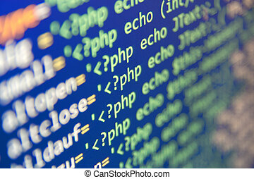 Coding - Program code - selective focus