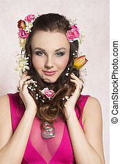 Spring girl with flowers - Pretty, natural, cheerful model...