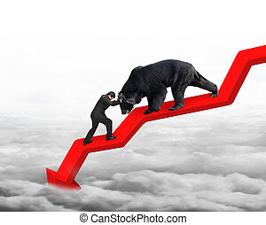 Businessman against bear on arrow downward trend line with...
