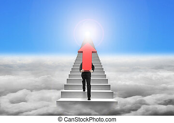 Businessman carrying red arrow sign on stairs with cloudscape su