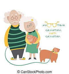 Elderly Couple With Their Dog - Illustration Featuring an...