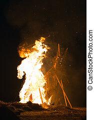 The celebration of the Maslenitsa. Burning effigy of winter.