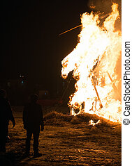 The celebration of the Maslenitsa Burning effigy of winter