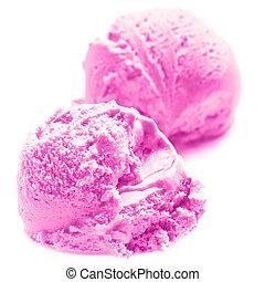 Scoop of ice cream isolated on white background macro