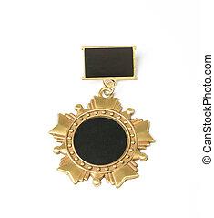 dorado, medalla, aislado, en, blanco,