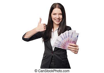 Feliz, mulher, com, Euro, Dinheiro, em, mão,