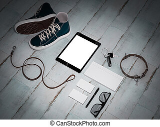 Every day carry man items collection: glasses, leash,...