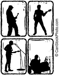 rock band, part 1 - Music, Black silhouettes on a white...