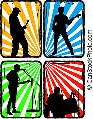 rock band, part 2 - Music, Black silhouettes on a bright...