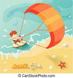 Summer time kiteboarding poster. Vector illustration with...