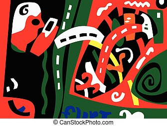 abstract art illustration in graphic style , design element