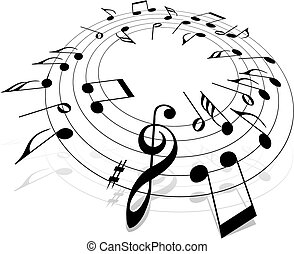 Music theme - Some 3D notes on a white background