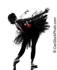 young woman ballerina ballet dancer dancing silhouette - one...