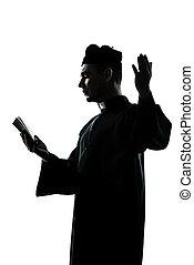 hombre, sacerdote, silueta, lectura, biblia,