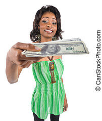 Handing money - Happy African american woman handing money...