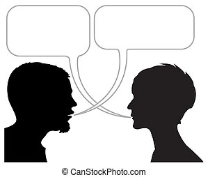 dialogue comic strip with silhouettes and speech bubbles