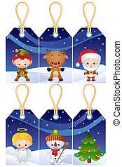 Christmas gift tags - Christmas characters gift tags