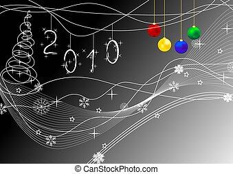 New Year\'s card - Bright multi-coloured congratulatory card...