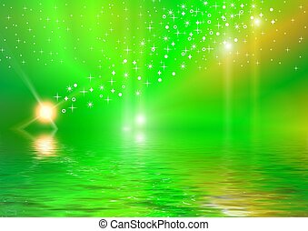 Northern lights - Bright multi-coloured background: stars,...