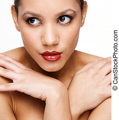 health skin - Portrait of young adult woman with health skin...